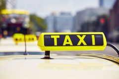 Detail of the taxi car on the street